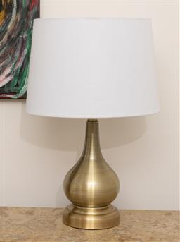 Sale 9248H - Lot 226 - A pair of gold tone spun metal table lamps of baluster form with white shades. height 55cm