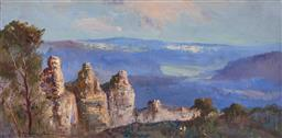 Sale 9244 - Lot 597 - WYKEHAM PERRY (1936 - 2021) Figures Overlooking the Three Sisters oil on canvas 30 x 60 cm signed lower left