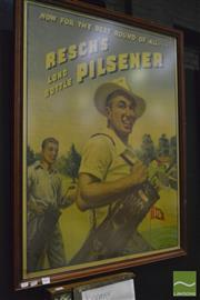 Sale 8350 - Lot 1005 - Vintage Alan D. Baker Print - Reschs Long Bottle Pilsener (some creases)