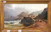 Sale 8794 - Lot 2009 - Sarah Louise Kilpack (c1840-1909) - Coastal Scene with Cottage and Figures
