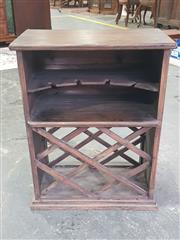 Sale 8951 - Lot 1087 - Timber Wine Rack with Glass Holding Shelf (H: 65, W: 50, D: 27cm)