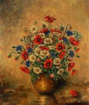 Sale 8975A - Lot 5087 - Artist Unknown - Poppies and Daisies 48.5 x 42 cm (frame: 57 x 50 x 3 cm)