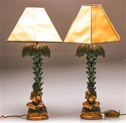 Sale 9122 - Lot 85 - Pair of Blackamoor Style Table Lamps (H:52cm, Without Shade)