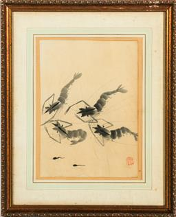 Sale 9164 - Lot 433 - Framed Chinese painting of shrimps (49cm x 40cm)