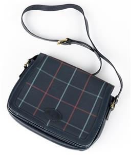 Sale 9250F - Lot 64 - A Burberry satchel in navy with chequered design, 71-11018-034, Width 26cm.