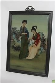 Sale 8546 - Lot 119 - Handpainted Chinese Reverse Glass Paintings Circa 1930s