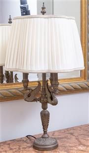 Sale 8568A - Lot 141 - A French style neoclassical style table lamp with swan branches and pleated shade, H 72cm