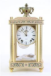 Sale 8849 - Lot 90 - A Japanese 14 Day Glass Panelled Clock (H 38cm W 19cm)