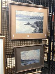 Sale 8850 - Lot 2028 - Alan G Collins (2 works) Scenes of Eastbourne, New Zealand 1966 watercolours, 30.5 x 53.5; 36 x 43cm (frames), each signed/dated -