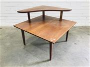 Sale 9092 - Lot 1030 - Timber corner two tier coffee table (h62 x d46cm)