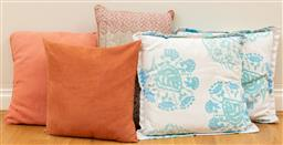 Sale 9165H - Lot 161 - A collection of five throw cushions in peaches and blues, Largest 50cm x 50cm