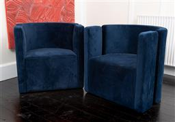 Sale 9248H - Lot 209 - A pair of blue velvet Globe West Juno Moon ocassional chairs.  70x 66 x 70cm