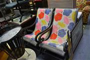 Sale 8035 - Lot 1090 - Pair of Teak Armchairs w Wool Embroidered Upholstery