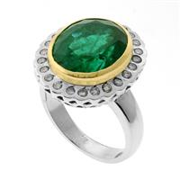 Sale 8171A - Lot 88 - An emerald diamond ring,  set with an approx. 7.84ct emerald & 24 diamonds in rhodium plated gold, tests for 14ct, size N1/2