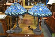 Sale 8277 - Lot 1050 - Pair of Leadlight Shade Table Lamps