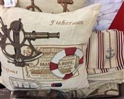 Sale 8310A - Lot 360 - A large quantity of nautical themed course linen table cloths and pillow covers