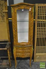Sale 8368 - Lot 1005 - Walnut Veneered French Style Display Cabinet with Glass Panel Door Above Three Drawers on Cabriole Legs