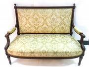 Sale 8516A - Lot 70 - A fine French walnut Louis XVI style loveseat / settee, Very intricate carving, with early brocade fabric in very good condition. ...