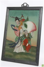 Sale 8546 - Lot 118 - Handpainted Chinese Reverse Glass Painting Depicting Mother and Child Circa 1930s