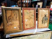 Sale 8678 - Lot 2082 - 3 Oriental Artworks, Children Hiding, Donkeys, Ducks & Plants