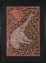 Sale 8847A - Lot 5098 - Roy Link (1962 - ) - Emu at Waterhole 68 x 44cm (framed and ready to hang)