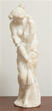Sale 9070H - Lot 104 - An early C20th marble carved statue of a woman, Height 53cm