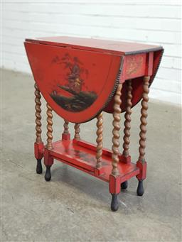 Sale 9179 - Lot 1050 - Red Chinoiserie Painted Gateleg Table, the oval top with double phoenix & landscapes to the leaves, raised on barley-twist legs - we...