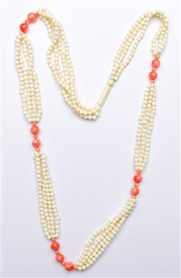 Sale 9173 - Lot 64 - A Chinese ivory bead necklace