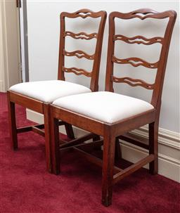Sale 9190H - Lot 273 - Pair of Antique Georgian chairs with calico drop cushions, height 96cm