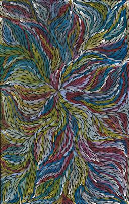 Sale 9239A - Lot 5013 - ROSEMARY (PITJARA) PETYARRE (C1965 - ) Yam Leaf Dreaming acrylic on canvas 150 x 95 cm (stretched and ready to hang) signed verso; c...