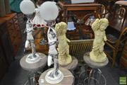 Sale 8277 - Lot 1071 - Pair of Figural Table Lamps & Pair of Cherub Figures (4)