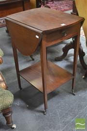 Sale 8291 - Lot 1033 - Small Late Victorian Mahogany Satinwood Banded Pembroke Table, with single drawer & lower shelf