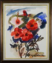 Sale 8301 - Lot 581 - Mervyn Ashmore Smith (1904 - 1994) - Still Life - Hibiscus 67.5 x 54cm