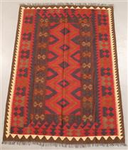 Sale 8445K - Lot 86 - Maimana Afghan Kilim Rug , 203x147cm, Handwoven in Northern Afghanistan using durable local wool. Traditional and reversible slit we...