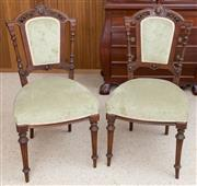 Sale 8515A - Lot 77 - A set of six walnut green velvet upholstered dining chairs with pierced back and turned supports