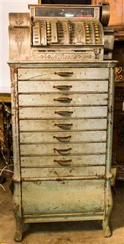 Sale 8516A - Lot 71 - An impressive French Louis XV bombe cash drawer & safe with capped bronze cabriole legs, includes Belgian made National nickel cash...
