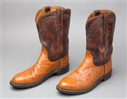 Sale 8541A - Lot 71 - A pair of brown two tone ostrich and cow leather cowboy boots with embossed detail, wear to sole, size 7.5
