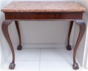 Sale 8568A - Lot 142 - A Georgian style side table with rose marble top, on carved cabriole legs on claw and ball feet, H 77 x W 88 x D 55cm