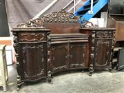 Sale 8817 - Lot 1005 - 19th Century Continental Rosewood Breakfront Sideboard, with recessed centre section with pierced backboard & passionfruit frieze, h...