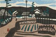 Sale 8870A - Lot 588 - Kiyoshi Saito (1907 - 1997) - A Distant View of a Country Town 25.5 x 28 cm