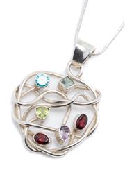 Sale 8999 - Lot 319 - A SILVER GEMSTONE PENDANT NECKLACE; 45 x 32mm twisted lattice form pendant set with amethyst, garnet, peridot, green quartz and a bl...