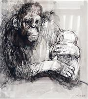 Sale 9007A - Lot 5001 - Margaret Woodward (1938 - ) - Monkey and Young 31.5 x 28 cm (frame: 63 x 59 x 2 cm)