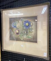 Sale 9011 - Lot 2042 - Artist Unknown, Chrysanthemums, watercolour, gouache and mixed media. frame: 53 x 57 cm, signed lower centre -