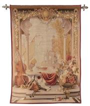 Sale 9040H - Lot 49 - A good tapestry of small proportions with fleur de lys wall mounts 1.5m height 1.4m wide