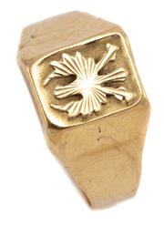 Sale 9074 - Lot 390 - AN 18CT GOLD SIGNET RING; applied with a stylised German eagle, top 10 x 8mm, size P, wt. 2.36g.