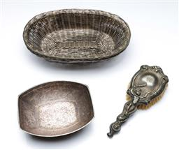 Sale 9098 - Lot 434 - Southeast Asian bowl with floral decorations (L16.5cm) together with an Cherubic handled brush and two plated woven baskets