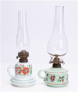 Sale 9185E - Lot 41 - Two floral painted milky glass based kerosene lamps with flutes, Height of taller 32cm, one burner marked P&A MFG Co. Waterbury conn