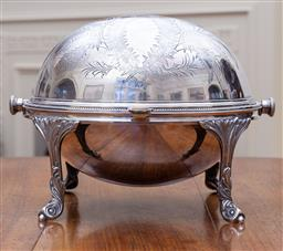 Sale 9190H - Lot 187 - Excellent quality antique silverplate roll over serving dish C: 1900, the lid decorated with a vacant cartouche framed by beautiful...