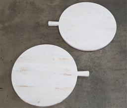 Sale 9188 - Lot 1406 - Pair of painted timber cheeseboards (d66cm)