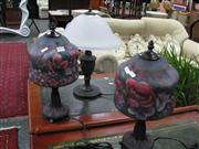 Sale 7972A - Lot 1028 - Pair of Floral Leadlight Shade Table Lamps w Urn Style Lamp